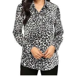 Equipment slim signature city cheetah blouse top